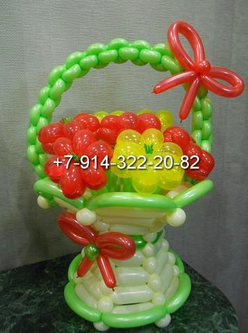Цветы и корзины из шаров своими руками
